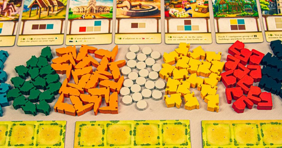 Tiny Towns Board Game Setup