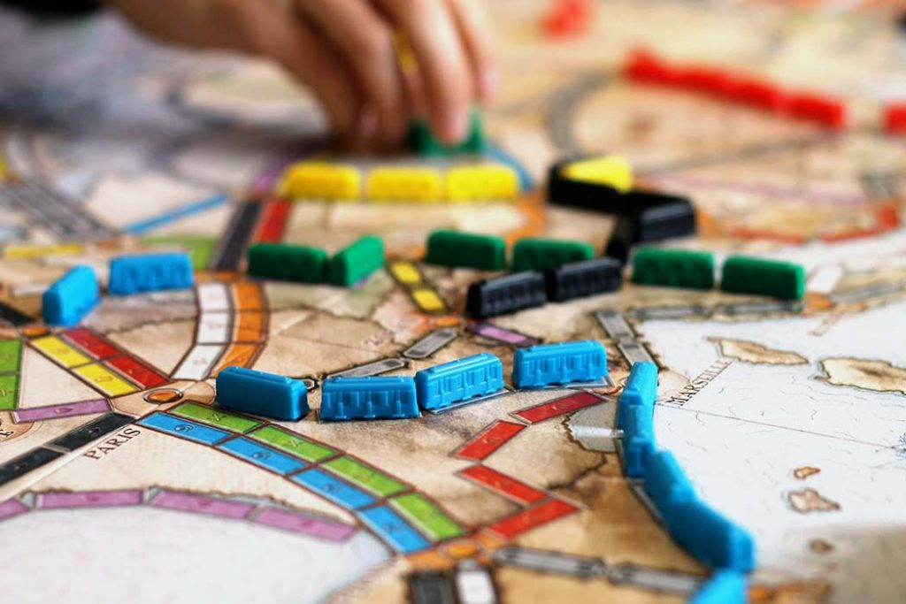 Ticket To Ride Board Game Train Route Close Up