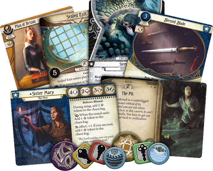 New Arkham Horror TCG Expansion The Innsmouth Conspiracy Components