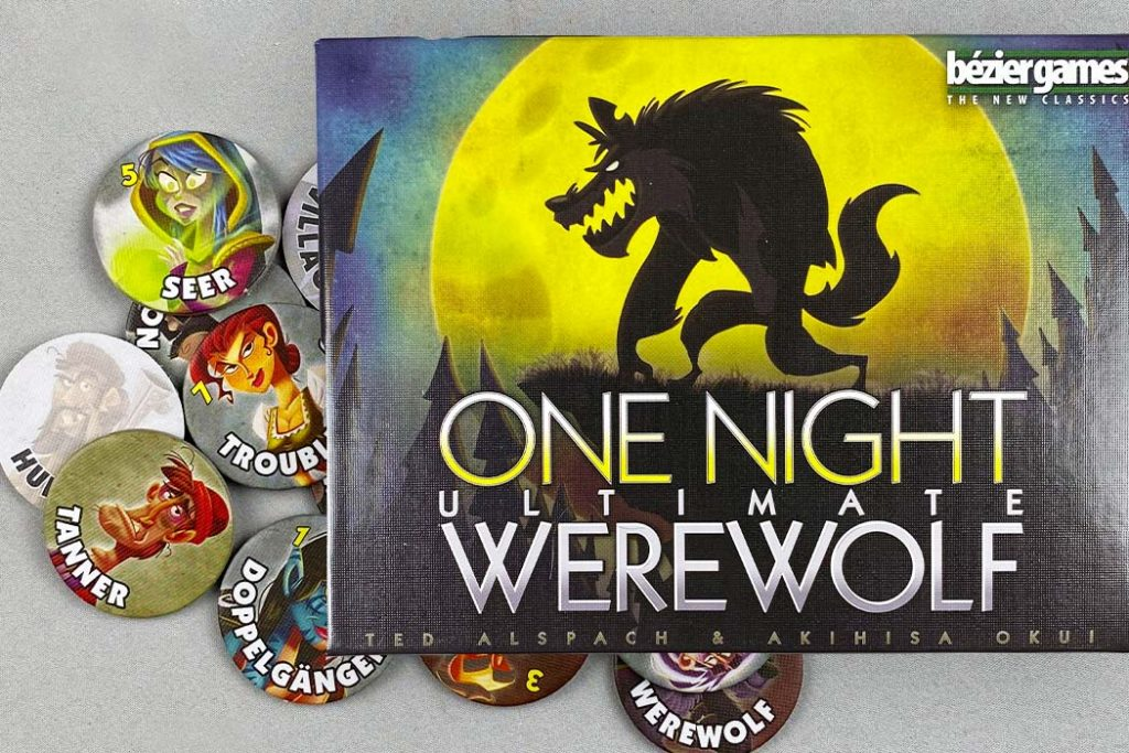 One Night Ultimate Werewolf Board Game Box and Tokens