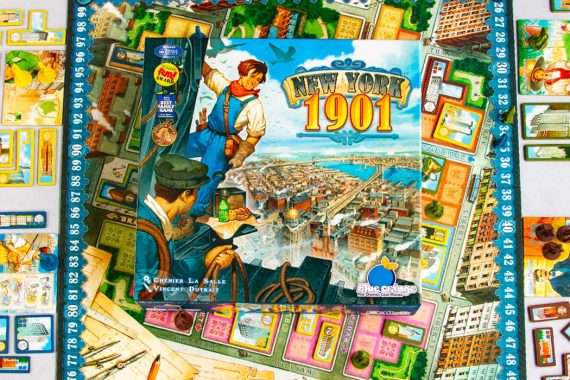 New York 1901 Board Game Box Art Components