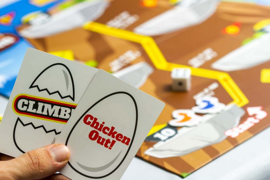 Risky Chicken Board Game Climb Chicken Out Cards