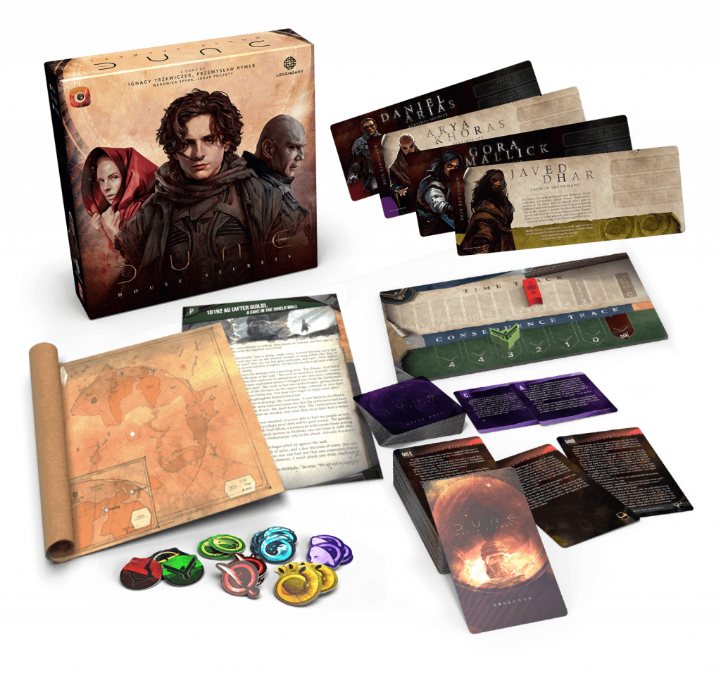 Dune House Secrets Board Game Components